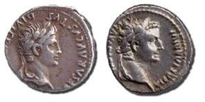 Denarius coins with both of the Roman emperors who reigned during the time of Jesus