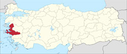 Location of İzmir Province in Turkey