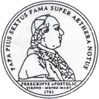 Pope Pius VI's image on a Coin
