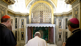 Pope Francis visits Peter's Tomb